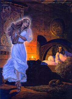 Caer comes to Aengus by Night by Ted Nasmith. Caer Ibormeith was changed into a swan every alternate Samhain. She eventually married Aengus of the Tuatha de Dannan, but first he had to pick her out, in swan form, from a group of one hundred and fifty other swans. With Aengus, Caer was the foster-mother of Diarmuid.