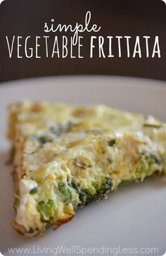 Simple vegetable frittata. This is the BEST last-minute dinner recipe! Perfect for using up any leftover veggies you have on hand.