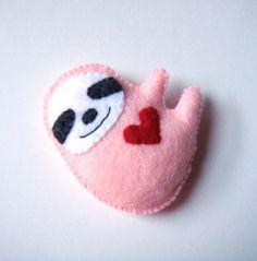 Sloth Felt Brooch Cute Funny Red Heart Avocado Moss by mikaart