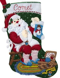 Bucilla Stitching Santa Sewing Basket Craft Christmas Felt Stocking Kit 89234E