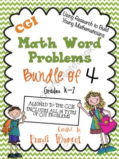 CGI Math Word Problems - Bundle of 4 from BrandiWayment on TeachersNotebook.com -  (174 pages)  - Bundled product of 4 sets of Cognitively Guided Instruction math word problems. Easy to differentiate - choose your own numbers. Grades K-2