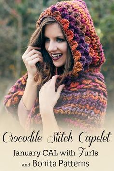 FurlsCrochet | January CAL Supplies List & Giveaway. Make this lovely Crocodile Stitch Capelet with Furls Crochet and Bonita Patterns.