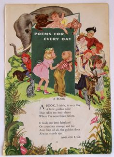 Vintage Children's Book Illustration From Childcraft Book of Poetry - 1949