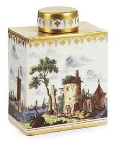 A Meissen rectangular tea-caddy and cover  Circa 1750, blue crossed swords mark  Painted to the sides with a continuous harbour and river landscape with various figures, below a gilt band at the rim, the shoulder and cover gilt  11.5 cm. high
