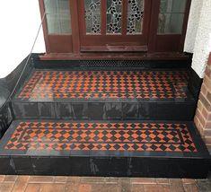 Victorian Path - Victorian Tiles Front Garden Ideas Driveway, Front Porch Steps, Bathroom Floor Tiles, Tile Floor, Victorian Mosaic Tile, Tiled Staircase, Victorian House Plans, Geometric Tiles, Outdoor Flooring