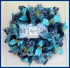 Tampa Bay Rays Wreath  MLB Baseball Deco Mesh by PsychoCreators