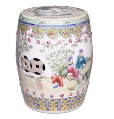 Jingdezhen Master Artist Chinese Famille Rose Garden Stool A Beautiful Example of The Historical & Inspiring Chinese Art of Free Hand Painted Porcelains. Elegant Hollywood Interior Design Accents, Courtesy of InStyle-Decor.com Beverly Hills for Interior Design Fans to Enjoy