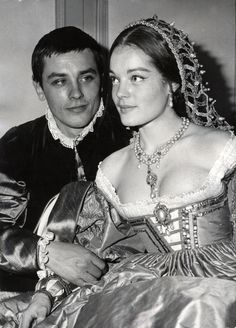 Alain Delon and Romy Schneider in costumes for Tis Pity She's a Whore directed by Luchino Visconti, ca. 1960