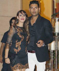 Yuvraj Singh with Hazel Keech at grand bash hosted by the Ambanis for Harbhajan Singh & Geeta Basra. #Bollywood #Fashion #Style #Beauty #Hot