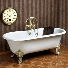 "Cecilia Cast Iron Dual Clawfoot Tub on Monarch Imperial Feet - 61"" or 68"""