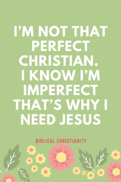 I'm not that perfect Christian. I know I am imperfect abd that's why I need Jesus.