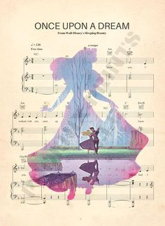 Sleeping Beauty Aurora Silhouette Once Upon A Dream Sheet Music Art Print Disney Names, Disney Pixar Up, Disney Songs, Arte Disney, Disney Love, Disney Sheet Music, Sheet Music Art, Dj Music, Sleeping Beauty Quotes