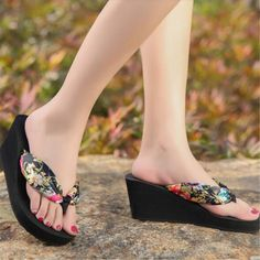 5316a7b93381a Bohemia Style Wedges Women Slippers Designer Flip Flops 2017 Summer Thick  Bottom Beach Slides Women Shoes