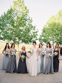 Love the slate blue bridesmaid dresses...Romantic White Wedding in Napa