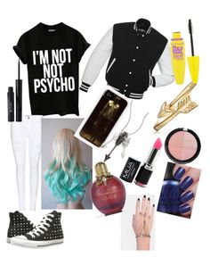"""""""Creepypasta oc outfit"""" by serenityhemmings ❤ liked on Polyvore featuring Frame, Converse, Jade Jagger, Bling Jewelry, INDIE HAIR, Maybelline, Forever 21 and Stila"""