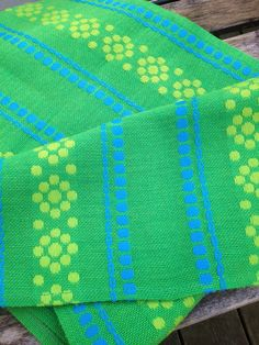 60s woven decorative mid century table runner with fantastic colors. via Etsy