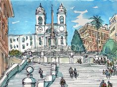 Rome Spain Stairs art print from an original watercolor painting