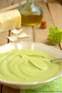 Petite crème « romanesca » à l'huile d'olive verte et parmesan