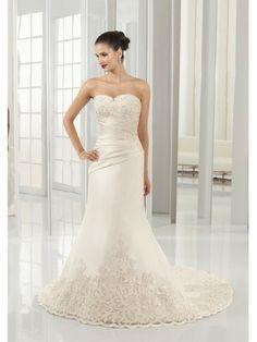 Satin Sweetheart Embroidered Bodice Sheath Wedding Dress