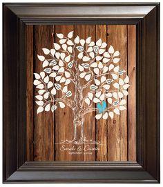 Guest Book Guestbook Alternative Gästebuch Ideen, Baum Liebe Vögel Hochzeit personalisiert Hochzeit einzigartige Holz Jahrestag Geschenkideen Hochzeit von fancyprints