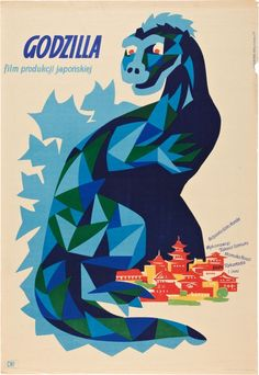 1957 Polish poster for Godzilla. -You can find Godzilla and more on our Polish poster for Godzilla. Japanese Monster Movies, Giant Monster Movies, Vintage Advertisements, Vintage Ads, Vintage Posters, Vintage Graphic, Vintage Artwork, Illustrations, Illustration Art