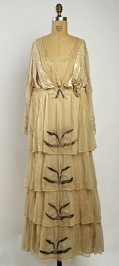 Beaded silk wedding dress (front) by Lucile, British, 1915.