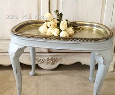 Love this silver tray as a tabletop!