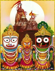 Jagannath, Balaram, Subhadra - Hindu Posters (Reprint on Paper - Unframed) Hare Krishna, Krishna Art, Jagannath Temple Puri, Lord Jagannath, Lord Vishnu, Lord Shiva, Rath Yatra, Lord Krishna Wallpapers, Jai Shree Krishna