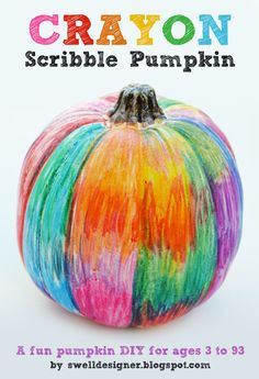 Crayon Scribble Pumpkin Craft Tutorial - color with crayons on a white pumpkin ... Easy peasy!