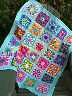 "Baby blanket crocheted afghan granny square baby afghan 34""x40"" combo 1 colours with seafoam border - READY TO SHIP"