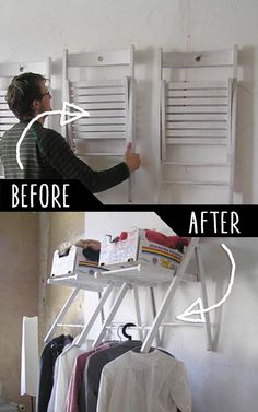 DIY Furniture Hacks | Hanging Chair Closet Organizer | Cool Ideas for Creative Do It Yourself Furniture Made From Things You Might Not Expect - http://diyjoy.com/diy-furniture-hacks