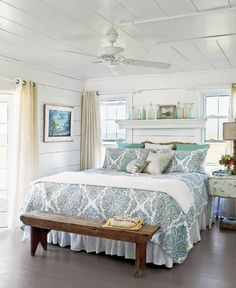37 Wonderful Beach And Sea Inspired Bedroom Designs : 37 Beautiful Beach And Sea Inspired Bedroom Designs With White Blue Wall Bed Pillow Blanket Chair Fan Window Curtain Nightstand Lamp And Hardwood Floor