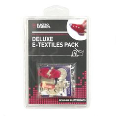 This Deluxe Pack is a great way to get a little more involved with E-Textiles. There are enough components for you to create some eye catching projects. Conductive Thread, E Textiles, Thread Art, User Guide, Packing, Learning, Projects, Crafts, Circuits