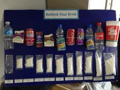 What an AMAZING school science project to educate just how much sugar we take in with certain drinks. Health Fair, Health Class, Health Lessons, Health Tips, School Health, Health Teacher, Health Matters, Science Fair Projects, School Projects