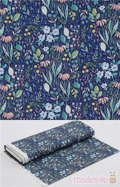 blue cotton fabric with colourful flowers and leaves in pastel peach, pink, yellow, blue, green, Material: 100% cotton, Fabric Type: smooth cotton fabric #Cotton #Flower #Leaf #Plants #USAFabrics