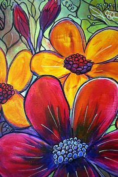 Detail Image for art TROPICAL GARDEN Original Fantasy Flowers Painting on Canvas