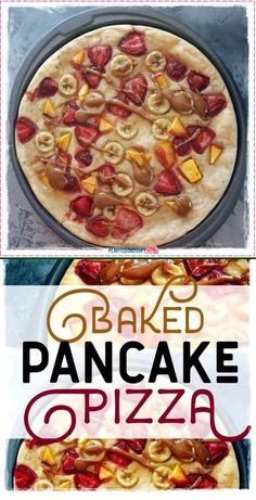 Baked Pancake Pizza is delicious and easy to make. This vegan, gluten-free sheet pancake is super light and fluffy but it's also a pancake pizza with yummy fruit toppings. So simple, too! Uses commonly found ingredients. #veganpancake #bakedpancake #pancakepizza #veganglutenfree