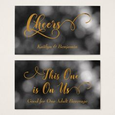 Black & White Bokeh Gold Typography Drink Tickets - diy cyo customize create your own personalize