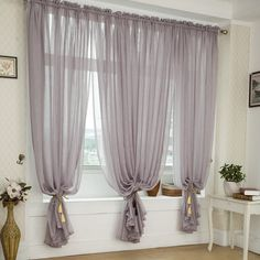 Free shipping Quality balcony window linen tulle fabric finished product sheer curtain panel(China (Mainland))