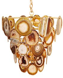 Gold painted iron frame and chain dressed with natural amber agate slices. Mid Century Modern Chandelier, Gold Home Accessories, Going For Gold, Affordable Home Decor, Home Decor Trends, Decor Ideas, Gold Paint, Contemporary Furniture, Crystals
