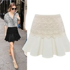 2014 Spring and Summer New Women Solid Lace Pencil Skirt OL Ladies High Waist Casual Fashion Ruffles Chiffon Short Skirts $12.99
