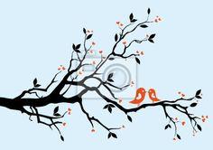 Wall Decal birds kissing on a branch - garden • PIXERSIZE.com
