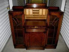 Vintage Art Deco Tiger Oak Wood Side by Side Secretary Desk Bookcase Cabinet