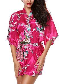 204f9d949e Avidlove Women s Kimono Robes Peacock and Blossoms Silk Nightwear Short  Style