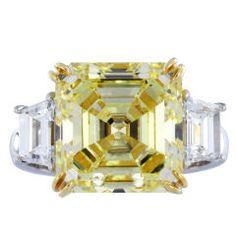 Rare and Magnificent Asscher Cut Yellow Diamond Ring