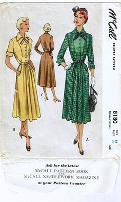 Vintage Early 1950's Dress Pattern with Pleated by FaithfulFabrics