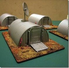 Iron Mammoth's Studio: Model Making: Quick and Easy Wargames Terrain - Scale Nissen Huts Warhammer diorama Stone basis