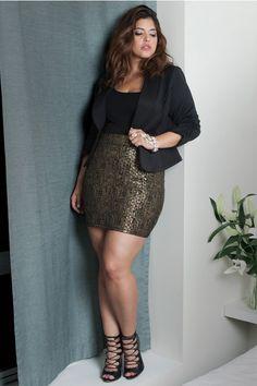 Plus Size Plaid Foil Pencil Skirt | Fashion To Figure