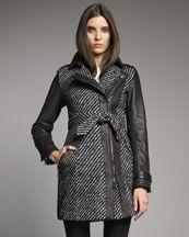 Burberry London Leather-Sleeve Tweed Trenchcoat