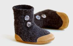 I love these eco-friendly and soft soled baby slippers from Wooly Baby on etsy.